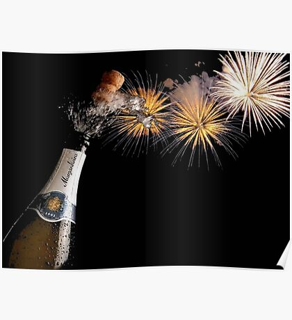 Champagne And Fireworks Celebration Poster