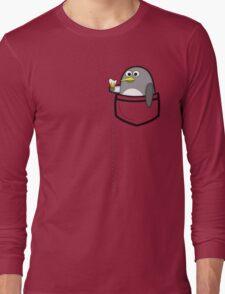 Pocket penguin enjoying ice cream Long Sleeve T-Shirt