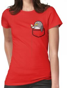 Pocket penguin enjoying ice cream Womens Fitted T-Shirt