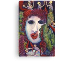 Gluttony Skeletons in Togas at a Bacchanalia Canvas Print