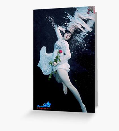 Red Rose, Red Lips & a Lace dress underwater Greeting Card