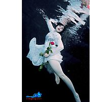 Red Rose, Red Lips & a Lace dress underwater Photographic Print