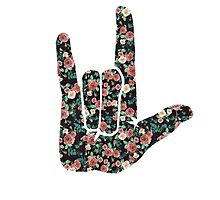 Floral Sign Language I Love You by owlistic
