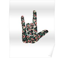 Floral Sign Language I Love You Poster