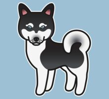 Black And White Alaskan Klee Kai Cartoon Dog by destei