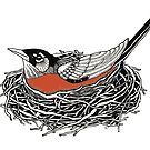 Robin Redbreast in Her Nest Illustration by sofieskein