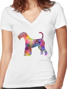 Airedale Terrier 01 in watercolor Women's Fitted V-Neck T-Shirt