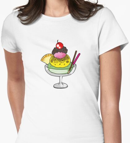 strawberry, vanilla, mint ice cream Womens Fitted T-Shirt