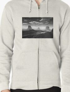 Monument Valley in Black & White  Zipped Hoodie