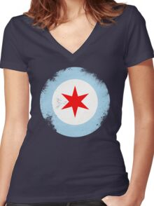 Chicago Mod Distressed Women's Fitted V-Neck T-Shirt