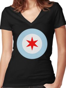 Chicago Mod Clean Women's Fitted V-Neck T-Shirt