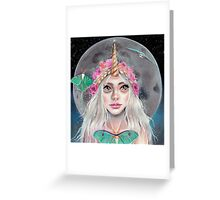 Nymeria and the Luna Moths, Unicorn Girl Greeting Card