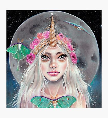 Nymeria and the Luna Moths, Unicorn Girl Photographic Print
