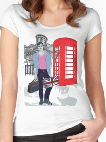 London street fashion Women's Fitted Scoop T-Shirt