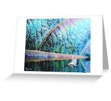 white bird - green landscape - natural world gallery Greeting Card