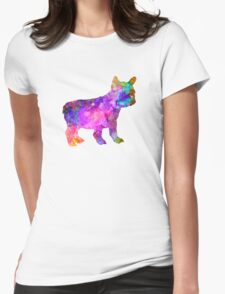 French Bulldog puppy 01 in watercolor Womens Fitted T-Shirt