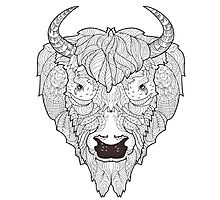 Bison head doodle . Photographic Print