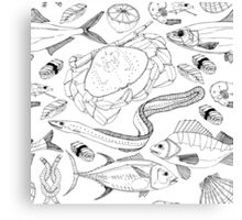 Sea life doodle in lines. Canvas Print