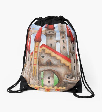 Wonderland Hearts and Turrets Drawstring Bag