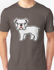 White English Bulldog Dog Cartoon T-Shirt