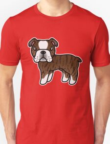 Brindle English Bulldog Dog Cartoon T-Shirt