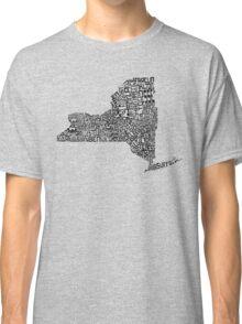 New York State Typographic Map Classic T-Shirt