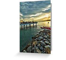 Fisher's Deck - Sunset in Santos, SP, Brazil Greeting Card