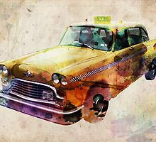 NYC Classic Taxi Urban Art by Michael Tompsett