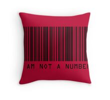 Barcode I Am Not A Number in Red Throw Pillow