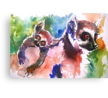 Mommy and Baby Lemur Canvas Print