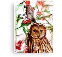 Owl in the Snow Metal Print