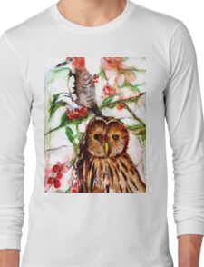 Owl in the Snow Long Sleeve T-Shirt
