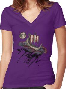 Lunar Viking Voyage Women's Fitted V-Neck T-Shirt