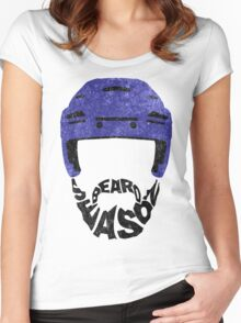 Hockey Beard Season, Blue Helmet Women's Fitted Scoop T-Shirt