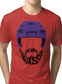 Hockey Beard Season, Blue Helmet Tri-blend T-Shirt