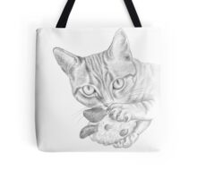 cat playing with toy Tote Bag