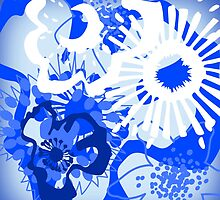 Bursting Blue Colour Splash Floral Version 2 (see description) by Ra12
