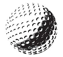 GOLF BALL, SPORT, Golfing, Golf, Black on White by TOM HILL - Designer