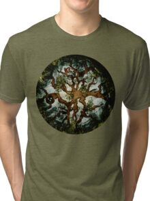 In the Woodland Treetops - Tree, Squirrel, Nest, Bird, Forest, Woodpecker, Leaves Tri-blend T-Shirt