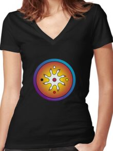 the precious ones... a sacred drum design... Women's Fitted V-Neck T-Shirt