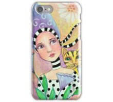 Whimiscal girl with cat iPhone Case/Skin