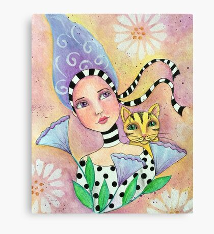 Whimiscal girl with cat Canvas Print