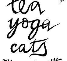 Tea, Yoga, Cats by VintageGuinea