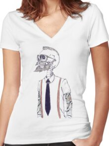 The Gentleman becomes a Hipster Women's Fitted V-Neck T-Shirt