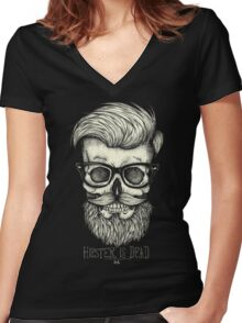Hipster is Dead II Women's Fitted V-Neck T-Shirt