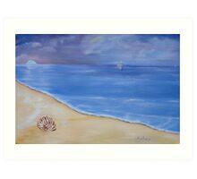 Tranquil, evening sky at the beach. Art Print
