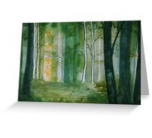 Green Birch Forest Greeting Card