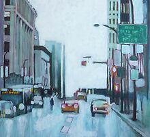 Downtown Lights, acrylic on canvas by Sandrine Pelissier
