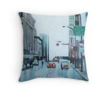 Downtown Lights, acrylic on canvas Throw Pillow
