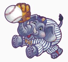 Wild Animal League Elephant Baseball  Kids Tee